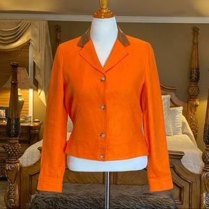 Lauren RL Orange Linen Jacket w Leather Collar 12